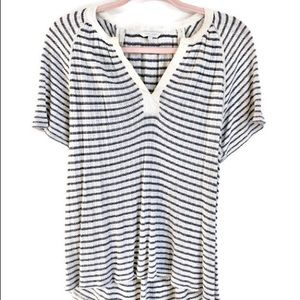Lucky Brand Soft Top Stripped Detailed Neck Line